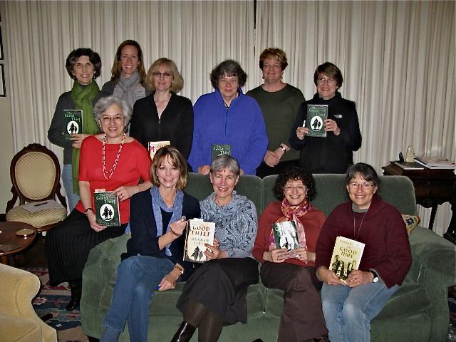 Portland, OR Bookclub--Front Row: Shawn Goodman, Patti Bade, Maggie Herrington, Lisa Sarasohn, June Reznikoff--Back Row: Susan Koe, Janet Williamson, Gretchen Brevig, Debby Pollack, Kate McKeon, Mo Steinberger